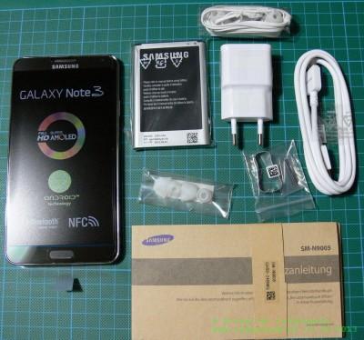 Samsung Galaxy Note 3 Lieferumfang