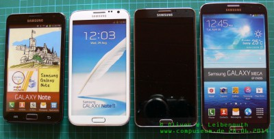 Größenvergleich Galaxy Note, Note2, Note3, Mega
