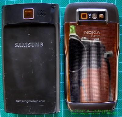 Samsung SGH-i780 und Nokia E71 Rückseite