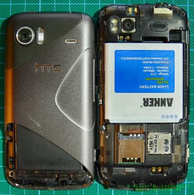 HTC Mozart und HTC Sensation Gehäuse offen