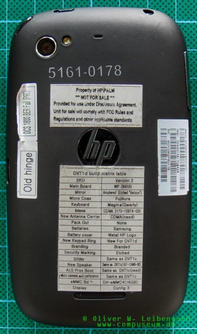 HP Pre 3 Prototyp Rückseite