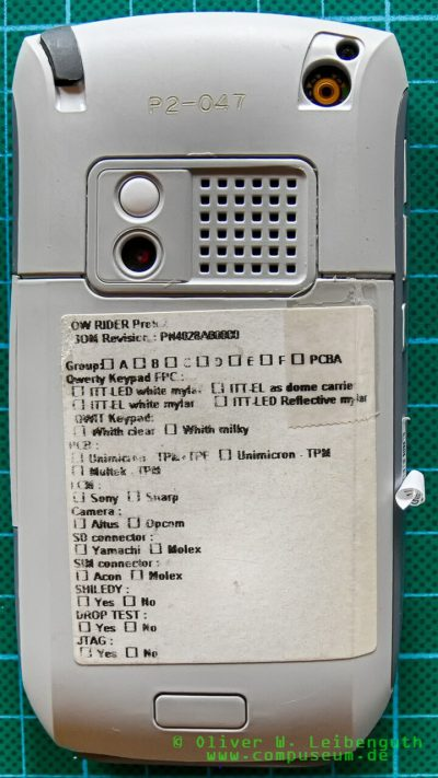 Palm Treo 680 EVT-Prototyp Rückseite