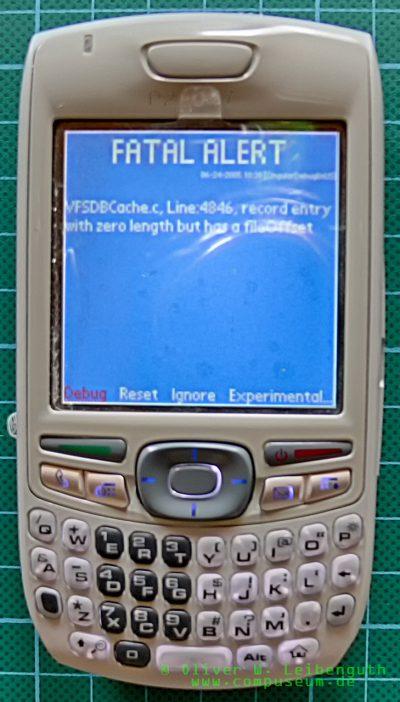 Palm Treo 680 EVT-Prototyp Bluescreen